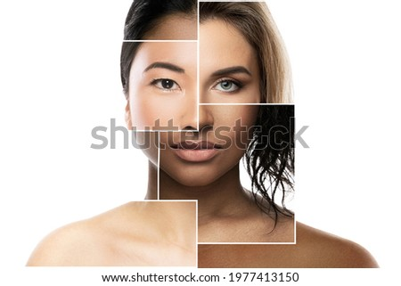 Creative beauty collage - face parts of different ethnicity women.