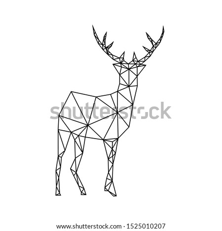 Creative black geometric contour of a wild deer on a white background. Minimalism in the style of trigonometry.