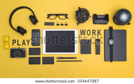Creative black office items tablet hero header #354647087