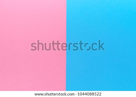 Creative blank paper background with two tone color. Blue and pink pastel geometric background, copy space. Fashion texture, overlap, minimal concept. Flat lay, top view #1044088522