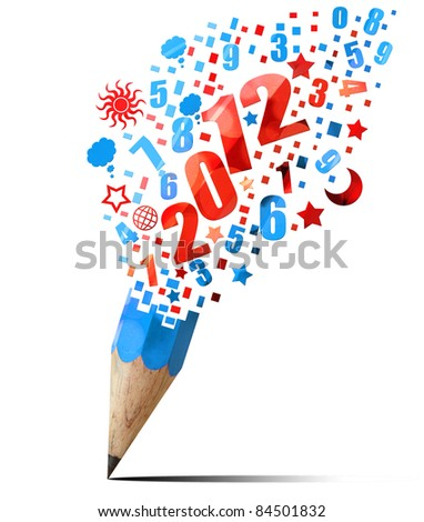 creative blue pencil 2012 year isolated on white - stock photo