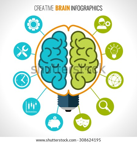 Creative brain infographics set with hemispheres in lightbulb and intelligence and creativity symbols  illustration