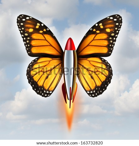 Creative breakthrough business metaphor as a rocket with monarch butterfly wings blasting off to higher levels of success as a symbol of the power and speed of innovation and invention on a sky.