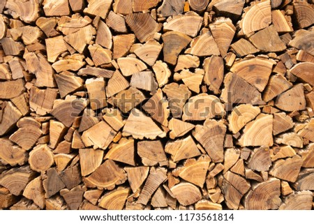 Creative brown background of neatly stacked firewood. Brown texture of natural wood #1173561814
