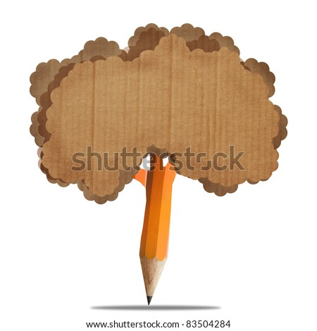 creative brown pencil with recycle paperboard brown leaf isolate on white