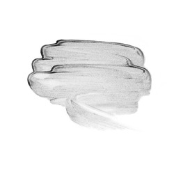 Creative brush stroke of silver paint Isolated on a white background. Texture silver paint. Brush strokes, blush, glare, eyeshadow, lipstick