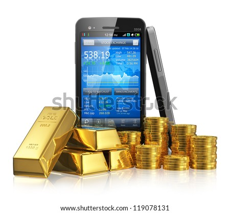 Creative business financial corporate stock exchange trading and making money and profit investment concept: smartphone with stock market application, golden ingots and gold coins isolated on white