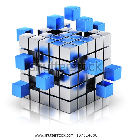Creative business teamwork, internet and communication concept: metal cubic structure with assembling blue metallic cubes isolated on white background with reflection effect