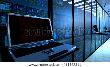 Creative business web telecommunication, internet technology connection, cloud computing and networking connectivity concept: terminal monitor in  datacenter. 3d render