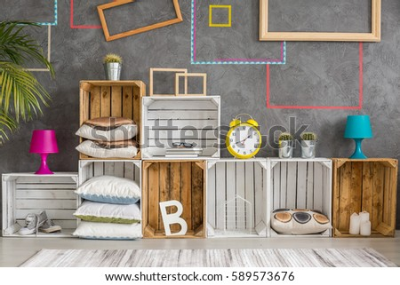 Creative cabinet made of wooden recycled boxes #589573676