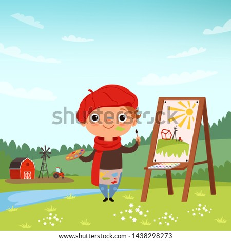Creative childrens. Little artist making pictures in the open air. Child painter with brush and palette, illustration