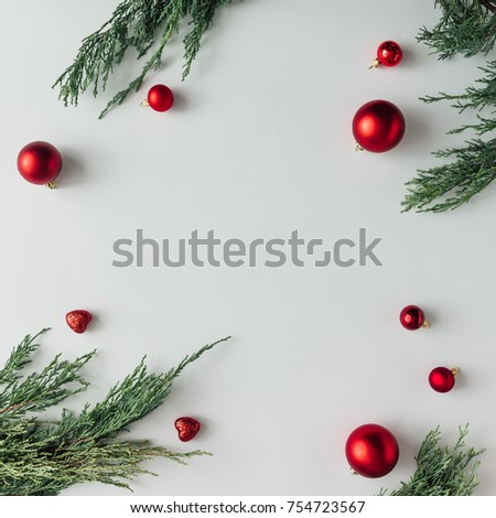 Creative Chistmas layout made of winter greenery and decoration. Flat lay. Holiday season concept. #754723567