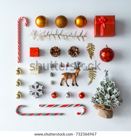 Creative Christmas layout made of christmas winter decoration. Flat lay. Nature New Year concept. #732366967