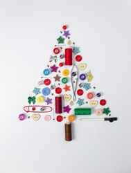 Creative Christmas tree made with festive colorful sewing accessories