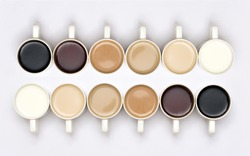 Creative Coffee in different cups with gradient colour effect in white background