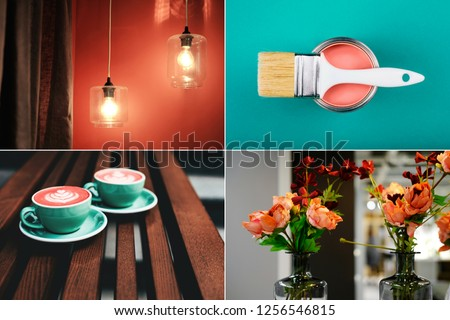 Creative collage - mood board in Coral color. Main interior design trend concept. Natural and authentic.