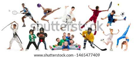 Creative collage of photos of 18 models. Advertising, sport, healthy lifestyle, motion, activity, movement concept. American football, soccer, tennis volleyball box badminton rugby