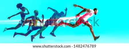 Creative collage of photos of 4 models running and jumping. Ad, sport, healthy lifestyle, motion, activity, movement concept. Male and female sportsmans of different ethnicities. Blue background.