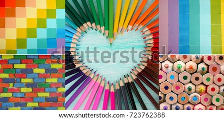 Creative collage with rainbow color mix