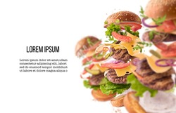 Creative collection set with Delicious burger with flying ingredients isolated on white background. Food levitation concept. High resolution image. Mockup with space for tour text