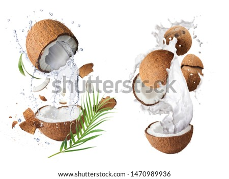 Creative Collection set with Flying in air fresh ripe whole and cracked coconut with milk splashes  isolated on white background. Food levitation concept. High resolution image, 3d concept #1470989936