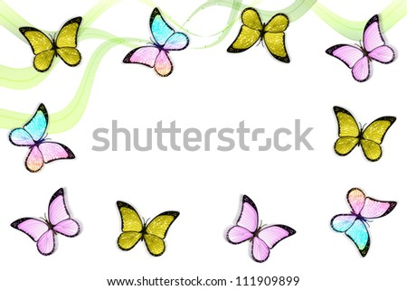 Creative colorful abstract frame with butterflies and lines