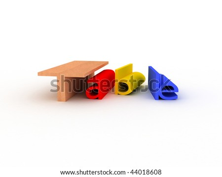 creative colorful 3d table on isolated background #44018608