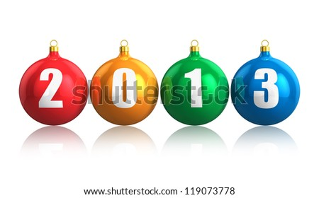 Creative colorful New Year 2013 concept with glossy metallic color Christmas balls isolated on white background with reflection effect