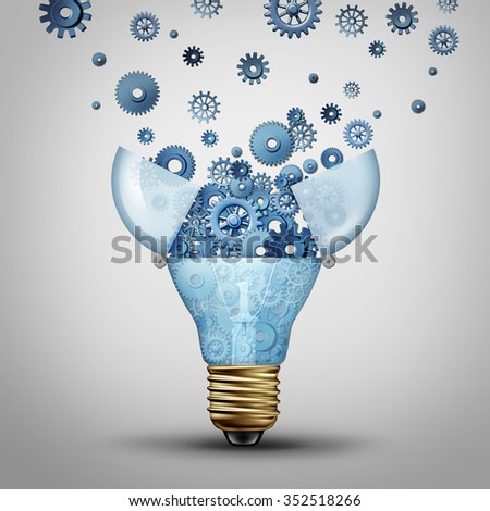 Creative communication solution and clever marketing ideas through distribution as an open lightbulb with a group of gears and cog wheels spreading out as a metaphor for brainstorm or brainstorming.