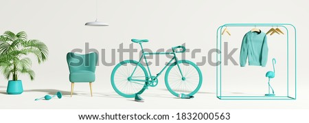 Creative composition. Abstract scene blue object on white background. interior concept. 3d rendering stock photo