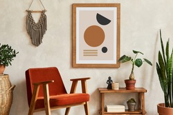 Creative composition of stylish living room interior with mock up poster frame, armchair, wooden shelf, cacti and personal and boho accessories. Plant love and nature concept. Template.
