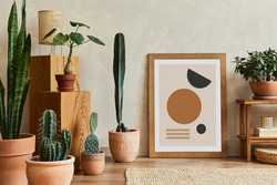 Creative composition of stylish living room interior with mock up poster frame, wooden bench, cacti and personal accessories. Plant love and nature concept. Template.