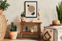 Creative composition of stylish living room interior with mock up poster frame, wooden shelf, pouf, cacti and personal accessories. Plant love and nature concept. Template.