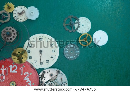 Grunge clock face and gear  Retro style  Images and Stock Photos