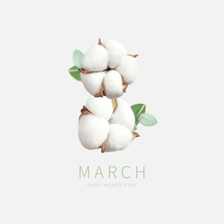 Creative concept for March 8 from cotton. International Women's Day. Number eight from cotton flowers, green twigs of eucalyptus on light background. Flower card, floral composition. Spring, holiday