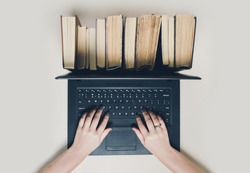 Creative concept of book and ebook
