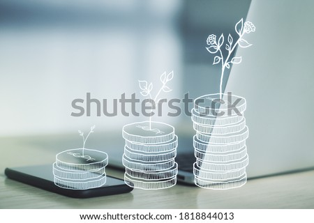 Creative concept of cash savings on modern laptop background. Retirement savings and capital increase concept. Multiexposure Stockfoto ©