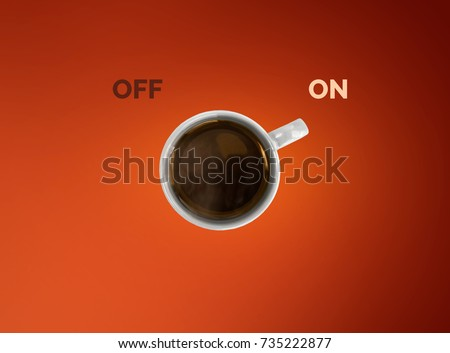 Creative concept of coffee cup. Cup off coffee as a switcher on red background. #735222877