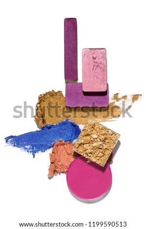 Creative concept photo of cosmetics swatches beauty products square and round eyeshadow on white background.