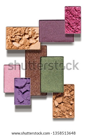 Creative concept photo of cosmetics swatches beauty products square eyeshadow on white background.