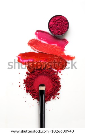 Creative concept photo of cosmetics swatches on white background. #1026600940