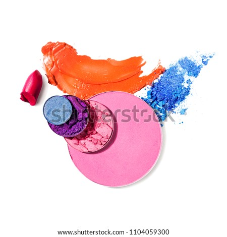 Creative concept photo of cosmetics swatches on white background. #1104059300