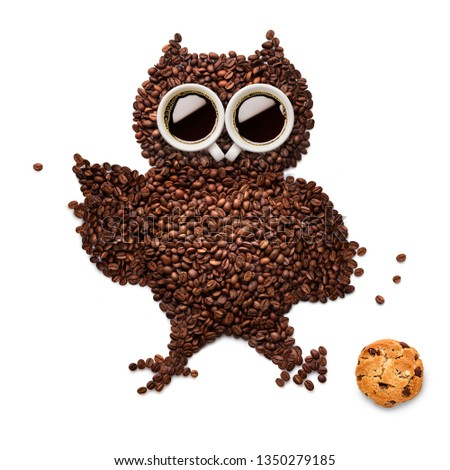 Creative concept photo of owl made of roasted coffee beans and two cups with refreshment espresso caffeine drink beverage with cookie on white background.