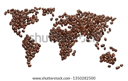 Creative concept photo of world map made of roasted coffee beans drink beverage showing that people drink coffee worldwide on white background.