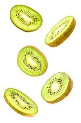 Creative concept with flying kiwi fruit. Sliced kiwi isolated on white background. Levity fruit floating in the air