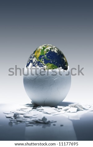 Creative conceptual image.Planet Earth birth from egg. Earth in this montage provided by NASA (http://visibleearth.nasa.gov/)
