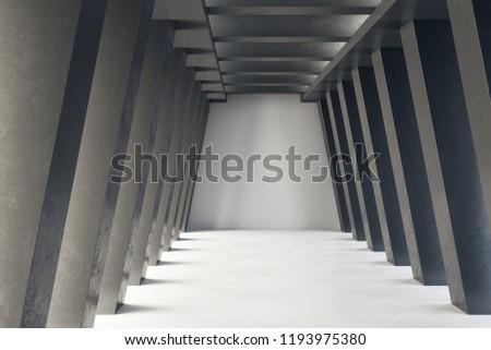 Foto mural Creative concrete tunnel interior. Futuristic design and accomodation concept. 3D Rendering