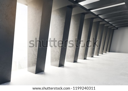 Foto mural Creative concrete tunnel interior with city view and daylight. Futuristic design and accomodation concept. 3D Rendering
