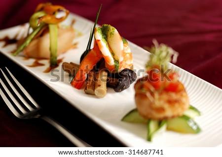 Creative Cuisine Appetizer Shrimp Seafood. Shrimp appetizers during a party.