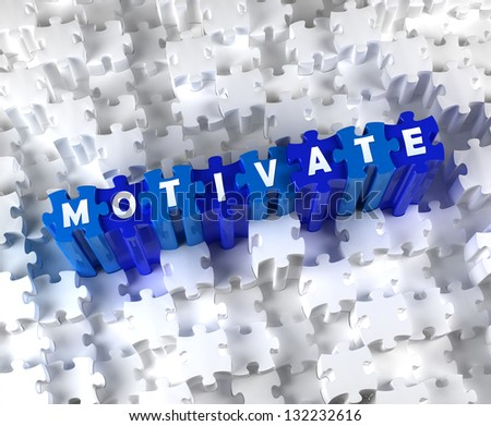 Creative 3D pieces of puzzle and word Motivate